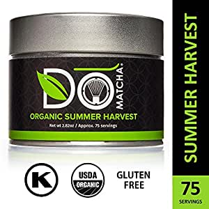 DoMatcha - Organic Summer Harvest Matcha Powder, Authentic Japanese Green Tea Rich with Antioxidants and L-Theanine, Gluten Free and Kosher, 75 Servings (2.82 oz)