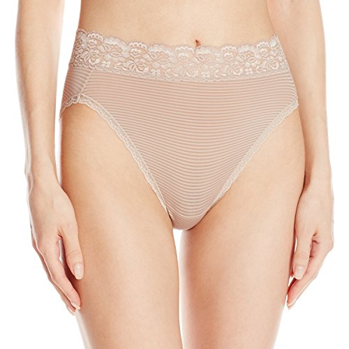 Vanity Fair Women's Flattering Lace Hi Cut Panty 13280, Toasted Coconut Novelty, X-Large/8
