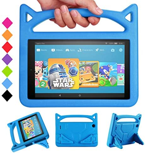 All-New HD 10 & HD 10 Kids Edition Tablet Kids Case (ninth/seventh/fifth Generation,2019/2017/2015 Release)-SHREBORN Lightweight Shockproof Case with Cute Cat Handle Stand for HD 10.1 Inch Tablet-Blue