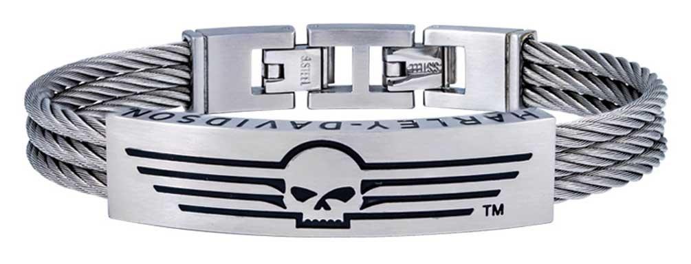 Harley-Davidson Men's Wing Skull Triple Wire ID Bracelet, Steel HSB0145 (8.5)