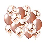 BRIGHT TRICKS REAL Rose Gold 18 inch Confetti Balloon Set |16 Pcs PREMIUM QUALITY Elegant Latex Party Balloons for Weddings, Birthdays, Bridal Shower Decorations, Engagment Party Decorations