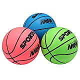 Stylife Mini Indoor Basketball Waterproof balls for Kids Soft and Bouncy (blue pink and green)