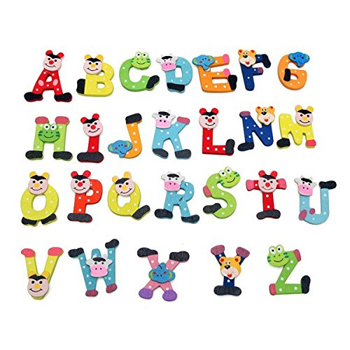 amazon com 26pcs baby kid child wooden cartoon alphabet abc xyz magnets educational toy baby 26pcs baby kid child wooden cartoon alphabet abc xyz magnets educational toy