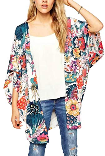 Hibluco Women's Sheer Chiffon Floral Kimono Cardigan Long Blouse Loose Tops Outwear (Small, K 4)