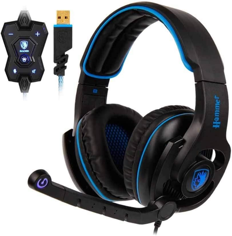 Computer Headset Gaming Headset USB Headphones Virtual 7.1 Surround Sound Rotatable Microphone in-line Controller Gaming Headset