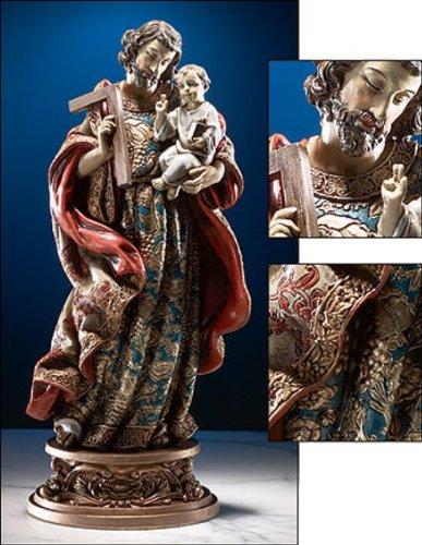 St. Joseph & Child Statue With Ornate Base