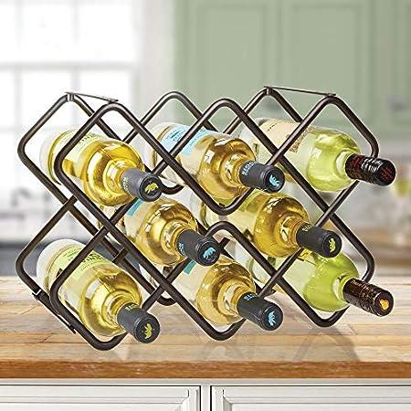 mDesign Estante para botellas y vino – Bonito botellero de metal en tres niveles con capacidad para hasta 8 botellas – Mueble botellero de pie para botellas de vino y otras bebidas – color bronce