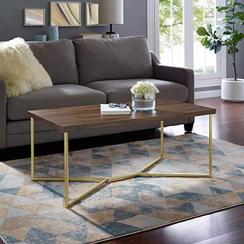 metal and wood coffee table set - 5