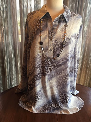 Custom Couture 2X lavender animal print tunic and lond purple and silver necklace 1545