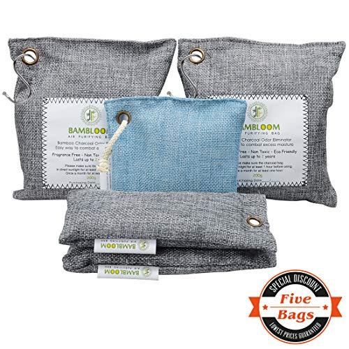 (Bamboo Charcoal Odor Eliminator Absorber - Air Purifying Bags Room | Basement | Bathroom | Gym, Car Freshener | Natural & Eco Friendly 200GX2, 75GX1, 50GX2)