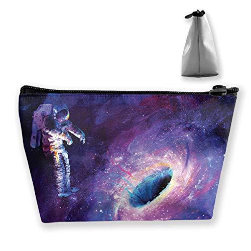 (Makeup Bag Trapezoidal Storage Bag Astronaut Artwork Space Portable Cosmetic Bag Ladies Mobile Travel)