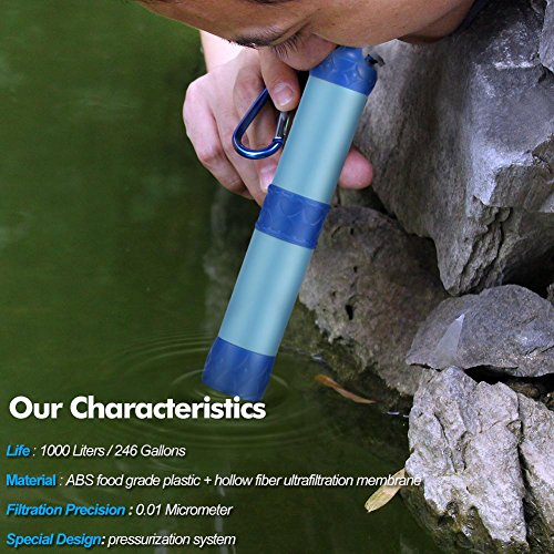 Bingogous Personal Water Filter 1000L Outdoor Mini Pressurized Water Filtration System for Hiking Camping Travel and Emergency Preparedness