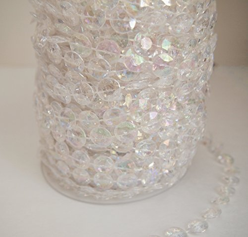 Acrylic Crystal Diamond Cut Beads Ribbon Strand Decor Faux Diamond Garland Iridescent Roll, 11mm x 10 ()
