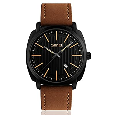 Men's Military Analog Quartz Waterproof Business Casual Brown Dress Wrist Watch with Leather Band, Simple Fashion Classic Black Dial and Calendar Date Window - Brown