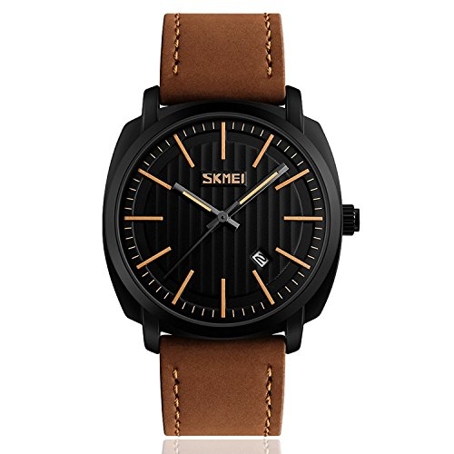 Mens Business Leather Band Watch, Military Casual Analog Quartz Waterproof Watches with Calendar Date Dress Fashion Wristwatch – Brown