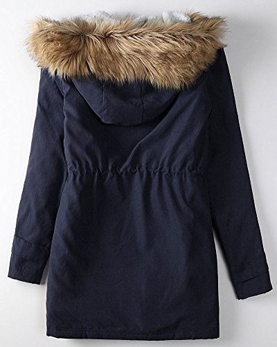 De Tallas Chaqueta De Azul Grandes Abrigo Clásico Mujer Caliente Encapuchado 1wq0dqf