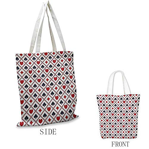 (Casino Washable shopping bag Holdem Gambler Hearts Spades Diamons Success Winning Modern Stylish Design Artwork Handmade shopping bags W15.75 x L13.78 Inch Black Red)