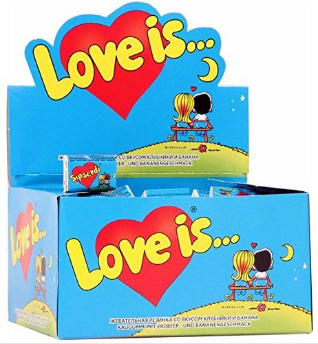 A blue box of love is... bubble gum strawberry and banana flavor