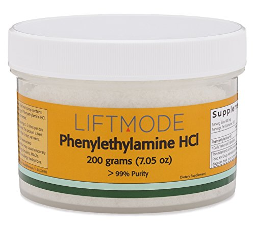 LiftMode Phenylethylamine HCL (PEA) Powder 99+% Pure - 200 Grams (330 Servings at 600 mg) | #Top Bulk Supplement | Increases Mood, Energy & Focus | Vegetarian, Vegan, Non-GMO, Gluten Free by LiftMode