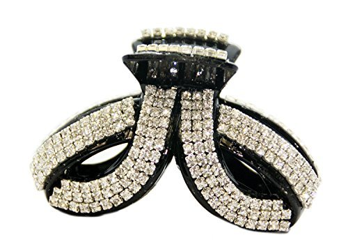 JCPeniel Large Twist Fancy Good Quality Rhinestones Claw Clip Jaw Clips For Thick Hair,One size,Black