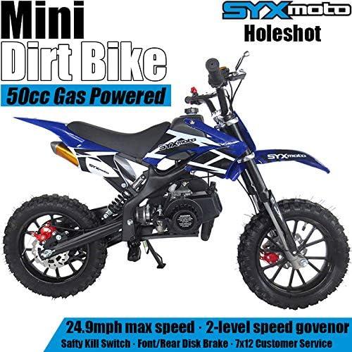 SYX MOTO Kids Mini Dirt Bike Gas Power 2-Stroke 50cc Motorcycle Holeshot Off Road Motorcycle Holeshot Pit Bike