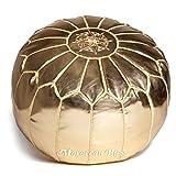 Moroccan Buzz 18-Pound Premium Stuffed Faux Leather Pouf Ottoman, Gold