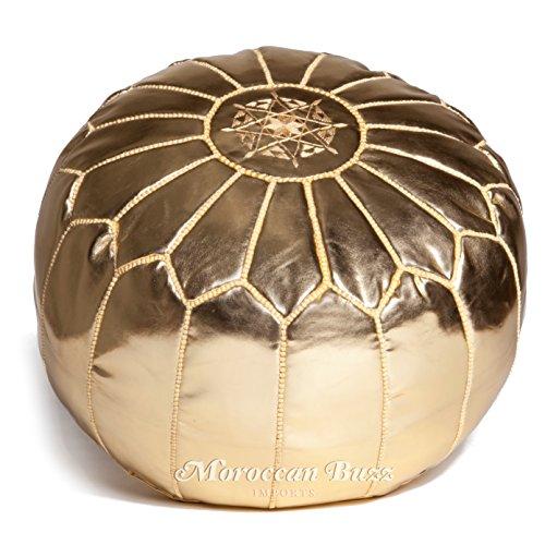 Moroccan Buzz 18-Pound Premium Stuffed Faux Leather Pouf Ottoman, Gold by Moroccan Buzz
