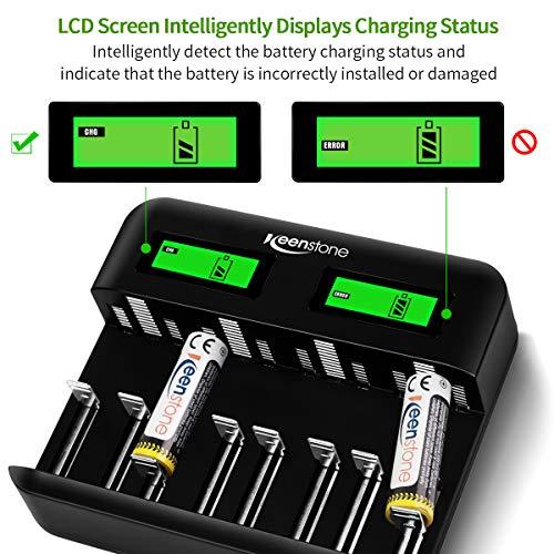 Keenstone Chargeur de Piles Rechargeables pour Ni-MH/Ni-CD AA/LR6, AAA/LR3, C/R14, D/R20 Batteries avec Écran LCD Intelligent et Ports Type C et Micro USB, Câble USB Type-C Inclus