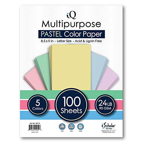 iQ Multipurpose Pastel Colored Copy Paper, Laser and Inkjet Compatible, 8.5 x 11 Inches, 24 Lb., 90 GSM, 100 Sheets…