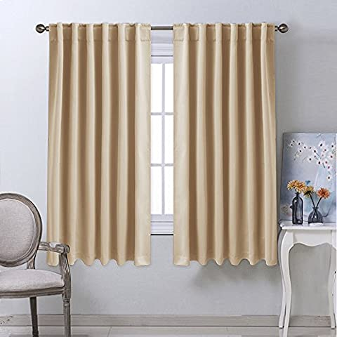 Window Treatment Curtains Room Darkening Drapes - (Warm Beige Color) 52 Width X 63 Drop Each Panel, 2 Panels Set, Curtains and Draperies for Kitchen by (Double Bay Window)