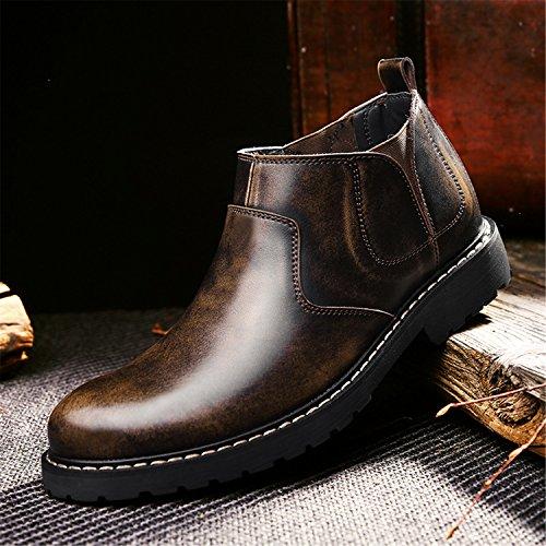 Mens Slip On Boots With Braun Cowskin Working Fleece Ankle Martin Bootie Shoes Chelsea RAINSTAR H4dwqaH