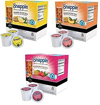 66 Count - Snapple Variety Iced Tea K-Cups For Keurig K Cup Brewers and 2.0 Brewers - Lemon, Peach, & Raspberry by Snapple