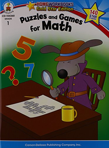 Puzzles and Games for Math, Grade 1: Gold Star Edition (Home Workbooks)