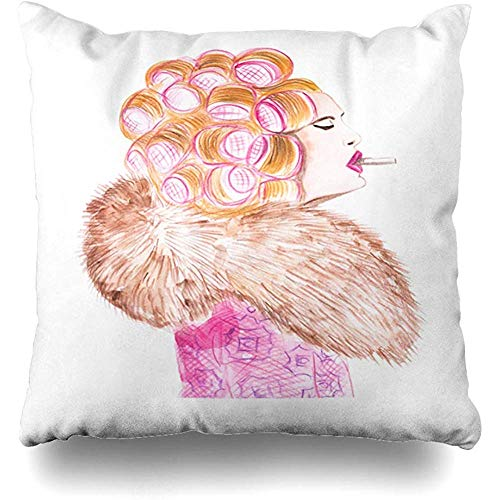 Throw Pillow Cover Red 50S Drawing Watercolor Retro Girl Hair Vintage Birthday Color Comic Design Hairstyle Home Decor Square 18x18 Inch Inch Cushion Case