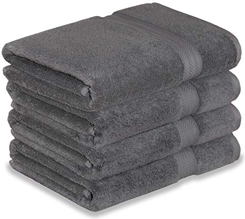 Excellent Deals Premium Bath Towel Set (Grey, 4 Pack) 100% Combed Cotton Ring-Spun 650 GSM Towels, 27 x 54 Inch for Home, Hotel and Spa, Maximum Softness, Highly Absorbent and Long Lasting.