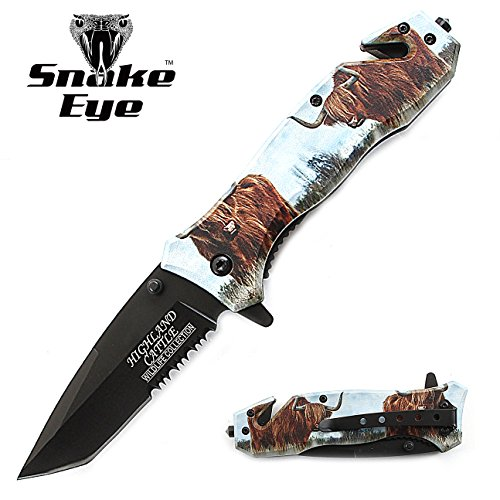 Snake Eye Tactical 3D Print Design Rescue Style Folding Pocket Knife Outdoors Hunting Camping Fishing (Cattle)