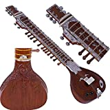 Sitar- Ravi Shankar Style- 7 Main Strings, 12 to 13 Sympathetic Strings, Tun Wood, Flat Back, Traveler Eco Model, Gig Bag, Extra Strings, Mizrabs, With Pick-Up Easy To Connect with Guitar Amplifier