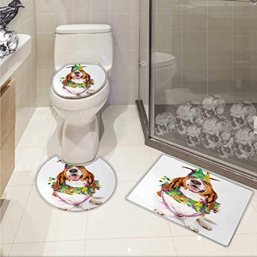 Mardi Gras Toilet mat Set Happy Smiling Basset Hound Dog Wearing a Jester Hat Neck Garland Bead Necklace Pattern Rug Set Multicolor