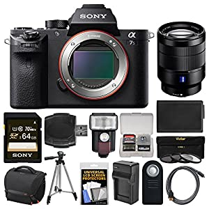Sony Alpha A7S II 4K Wi-Fi Digital Camera Body with T FE 24-70mm f/4 Lens + 64GB Card + Case + Flash + Battery & Charger + Tripod + Kit