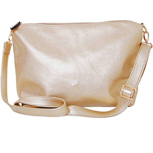 Humble Chic Crossbody Bag - Vegan Leather Satchel Messenger Hobo Handbag Shoulder Purse, Yellow Gold, Metallic