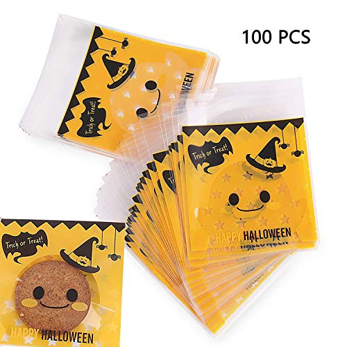 Halloween Cookie Bags Self Sealing Bags for Candy Treat Chocolate Cute Cellophane Bag with Bat 100 pcs