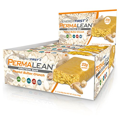Permalean Peanut Butter Crunch Whey Protein Isolate Bars | 23g Protein Per Bar | Gluten Free | Non-GMO | 4g Sugar | 100% Natural | Low Carb | High Fiber Bars – Box of 12 by EnergyFirst