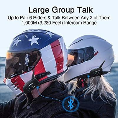 LEXIN LX-R6 2pcs BT Interphone Bluetooth Motorbike Motorcycle Helmet Intercom Headset 1000m Rider: Automotive