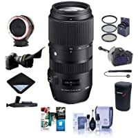 Sigma 100-400mm F5-6.3 DG OS HSM Lens for Canon EOS DSLR Camera - Bundle with 67mm Filter Kit, Flex Lens Shade, Peak Lens Changing Kit Adapter, Focus Shifter DSLR Follow Focus, Software Pack and More
