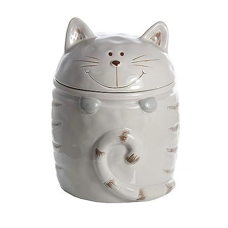 SPOTTED DOG GIFT COMPANY Biscottiere, Biscottiera Ceramica, Barattoli  Cucina a Forma di Gatto, Regalo per Donna Uomo e Amanti dei Gatto (Grigio)