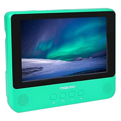 DigiLand 9in 16GB Google Android Tablet and DVD Player Combo WiFi with  Earphones -Teal (Renewed)