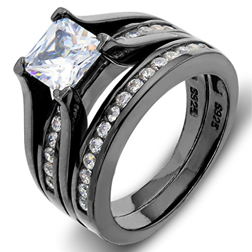 EVER FAITH Black Sterling Silver 925 Princess-Cut Prong Solitaire Cocktail Ring Set Clear Size 6