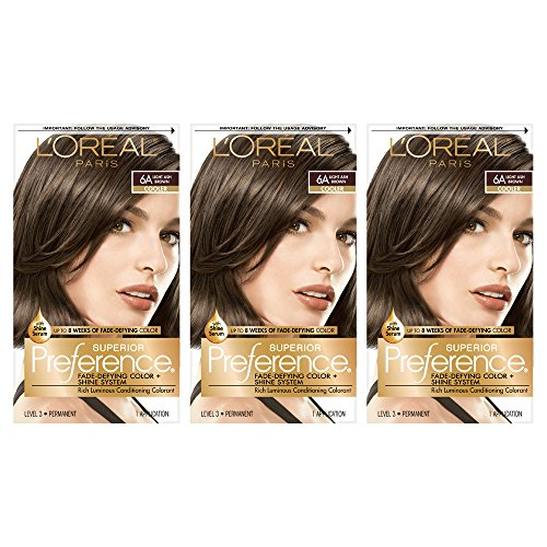 L'OrÃal Paris Superior Preference Fade-Defying + Shine Permanent Hair Color, 6A Light Ash Brown, 3 Count, Hair Dye