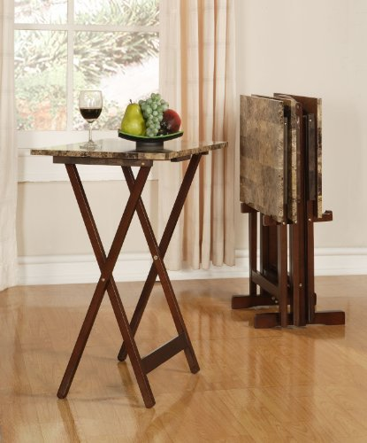FurnitureMaxx Brown Faux Marble Tray Table Set