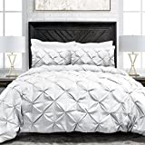Sleep Restoration Pinch Pleat 3-Piece Luxury Goose Down Alternative Comforter Set - Premium Hypoallergenic All Season Pintuck Style Duvet Set -King/Cal King - White